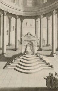 C 18th Century Jewish Bible Scene Engraving of 'The Throne of King Solomon'