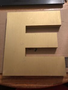 Vintage gold letter E metal sign alphabet industrial look 12 inches Storefront !