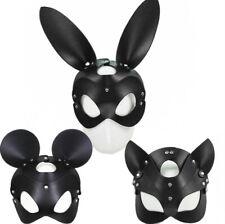 PU Pelle Halloween bondage Coniglio Bunny Testa Gatto Mouse Cappuccio Cosplay EYE COVER
