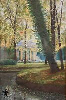Vintage Watercolor Gouache Landscape Signed A.D. 1943 Park Temple Folly Pavilion