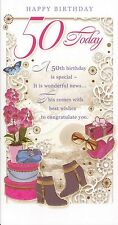 female traditional open happy 50th birthday card 50 today - 3 cards to pick from