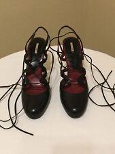 MaxStudio Black Leather Lace Up Pumps Sz 10