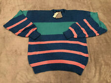 New Men's Vintage Jockey Sweater Large 80's  Striped Pink Blue Green Knitted