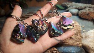 Raw Crystal Keyring healing stone RAINBOW AURA QUARTZ reiki gemstone chakra