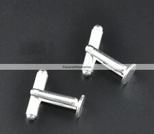 Lot of 10 Silver Plated Cuff Links (5 pairs) - 8 mm Glue Pad - WHOLESALE