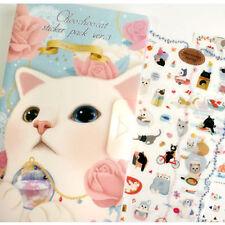 #75 choo choo cat hold ball cute deco stickers V3-1 with folder 8 sheets/set