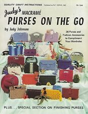 26 Vtg Macrame Handbag Clutch Patterns Judy's Purses on the Go Craft Book PD1048