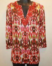 Jones New York Ladies Long Summer Sleeve Blouse Tie Dye Print with Red Beading