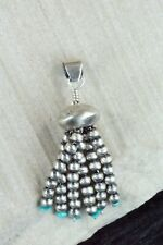 Navajo Turquoise and Sterling Silver Tassel Pendant - Jan Mariano