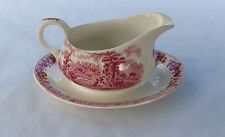 Pink Alfred Meakin Romance (The Courtship) Gravy Boat / Sauce Boat, Fixed Saucer