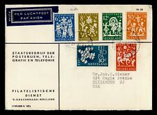 DR WHO SEMIPOSTALS 1961 NETHERLANDS AIRMAIL TO USA C242633