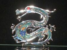 NEW SILVERTONE DRAGON PIN W/OPEN MOUTH, RED EYE & BLUE GREEN PAINT  WOW!! b432
