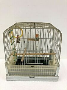 Vintage HENDRYX BIRDCAGE metal canary finch mid century modern wood perch steel