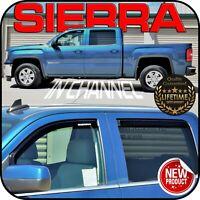 2014-2019 Sierra Crew Cab In Channel Window Deflector Vent Door Visor Sun Shade