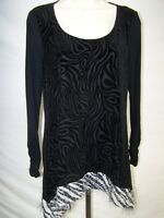 Style & Co Black White Velour Soft Animal Print Top Womens Size Small 4 6