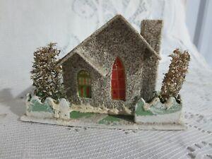 Vintage Putz Cardboard House Glitter Trees Japan