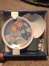 New Melmac 3 Piece Set Plastic Raggedy Ann/Andy Bowl Cup And Plate