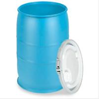 30 Gallon Plastic Drum Open Top w Lid Blue Survival Food Water Emergency Storage