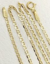 """14k Solid Yellow Gold 1.5 MM 20"""" Anchor Mariner Link Chain Necklace, Unisex"""