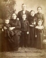 ANTIQUE CABINET PHOTO LOVELY VICTORIAN FAMILY 5 CHILDREN PLAID DRESS by KRINGER