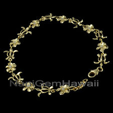 "Hawaiian 8mm Plumeria Turtle Bracelet 7"" Sterling Silver 14k Yellow Gold Plated"