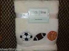 BABY BLANKET KIDSLINE VARSITY SPORTS SOCCER FOOTBALL CREAM BOA NEW EMBROIDERY