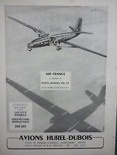 6/1955 PUB AVIONS HUREL-DUBOIS MEUDON SNCASE HD.32 DC-3 AIR FRANCE ORIGINAL AD