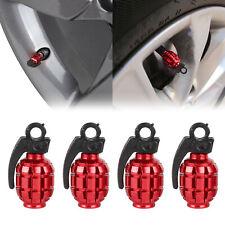 4x Wheel Air Shape Valve Stem Caps For Car Truck Bike - Metal Red Grenade Bomb