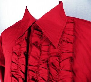 1960s BNWT Deep Red Flamenco Ruffle Shirt from Contact Sizes S or L Disco