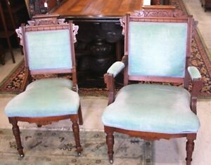 American Antique Eastlake Mahogany His & Hers Pair of Upholstered Blue Chairs