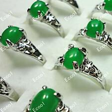 120pcs Malay Jade Silver Plated Rings New Wholesale Jewelry Alloy Free Shipping