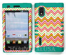 Hybrid Silicone Cover Case for LG Optimus Extreme L40g / L5 - Chevron Wave 99