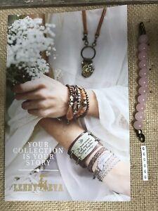 "New Lenny & Eva Jewelry Beaded Claw Link Bracelet Sentiment Round Pink ""G"""