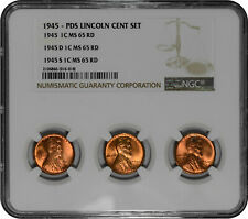 1945 P + D + S 1c Lincoln Wheat Cent NGC MS 65 Three Coin Lot - Tri-Holder
