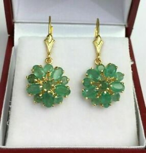 1.00 Ct Round & Oval Cut Green Emerald Drop Dangle Earrings 14k Yellow Gold Over