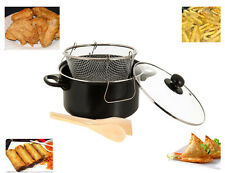 3 PC CHIP PAN DEEP FAT friteuse frire panier NON STICK POT W verre couvercle COOK 24cm