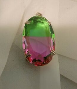 """NATURAL OVAL WATERMELON TOURMALINE 925 STERLING SILVER PENDANT 2"""" NECKLACE CHARM"""