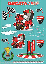 DUCATI Corse Cartoon Deko Aufkleber Sticker Kinder NEU !!