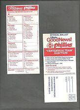"""Philadelphia Phillies """"Centennial Team"""" Election Ballot 1983 ."""