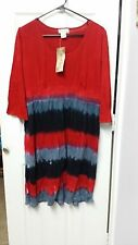 Earth Song Tie Dyed Black Grey Red Boho Bohemian Dress Size L NEW WC1168