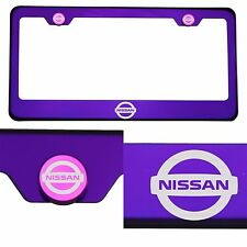 Candy Purple License Plate Frame Stainless Steel Laser Engraved Fit Nissan Logo