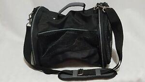 Olivet Internatiol Nylon Mesh Pet Carrier Black Travel Handle & Shoulder Strap