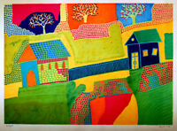 Jewish HAND SIGNED Hebrew NAIVE ART Numbered LITHOGRAPH Judaica SHEINFELD Israel