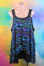 MILLERS SIZE 20 PLUS WOMANS, PURPLE & BLUE DIAMONDS BLOUSE