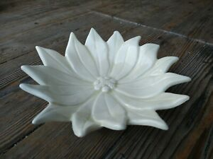 Vintage 1980 Ceramic Poinsettia Serving Dish Candy Nut Bowl by Atlantic Mold