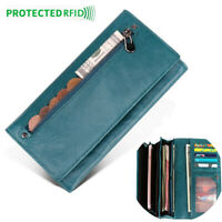 Genuine Leather Women's Long Clutch Zipper Wallet RFID Blocking ID Card Holder