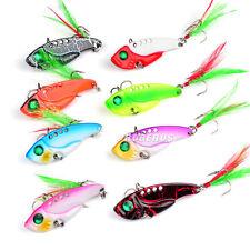 New 8pcs/Lot VIB Spoon Fishing Lures 5.5cm/11g Feather Hooks Fishing Bait Lures