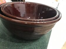 Vintage Marcrest Stoneware Daisy Dot 2 pc Nesting Bowls Brown, Oven Proof