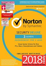 Norton Security Deluxe 3.0 - 2018 - 3 Geräte - 1 Jahr DE (PC/Mac/Tablet/Handy)