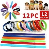 12 Farbe Welpen Welpenhalsband ID Halsbänder Klettband für Hunde Katzen Haustier